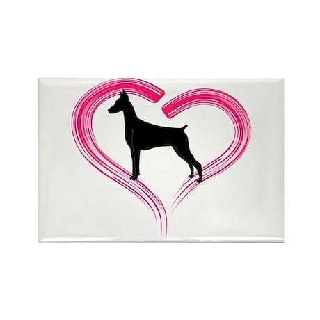 Heart My Doberman Rectangle Magnet