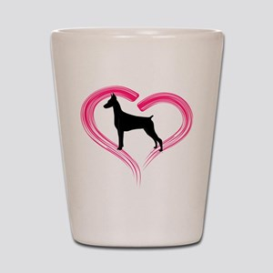 Heart My Doberman Shot Glass