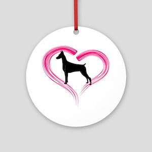 Heart My Doberman Ornament (Round)