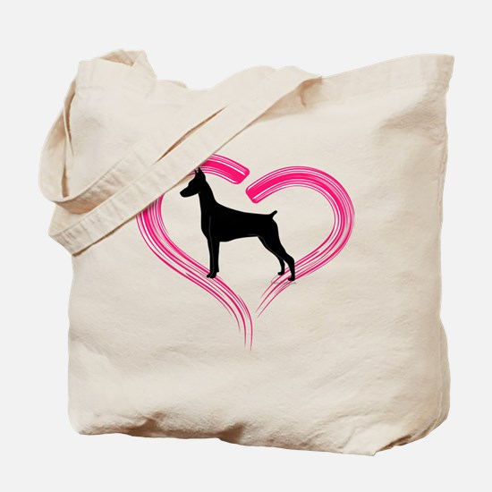 Heart My Doberman Tote Bag