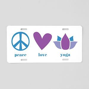 peace, love, yoga Aluminum License Plate