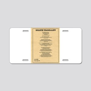 Hanging Judge Death Warrant Aluminum License Plate