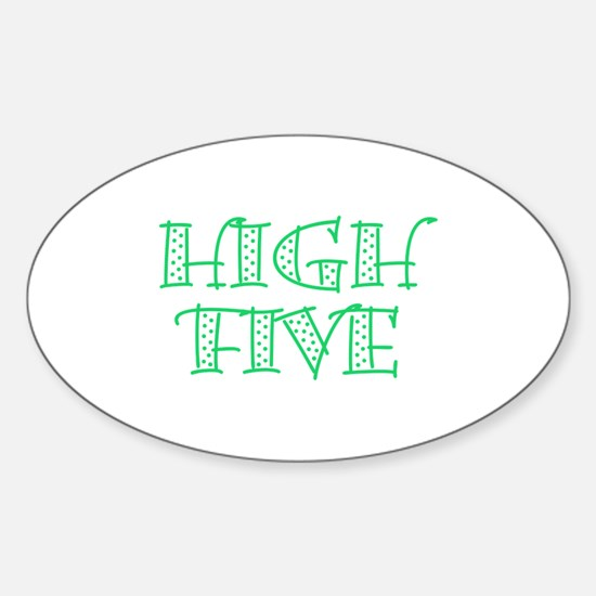 HighFive_Green Sticker (Oval)