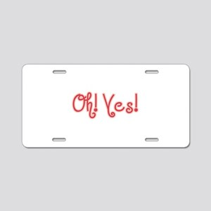 OhYes_Red Aluminum License Plate
