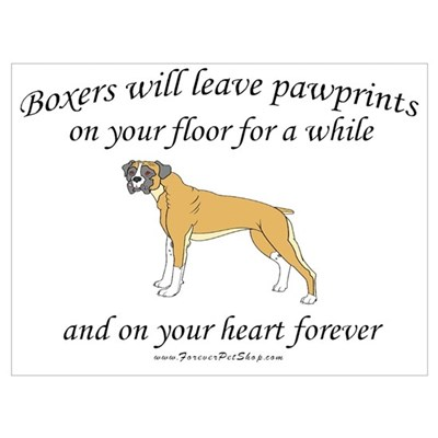 Boxer Pawprints Canvas Art