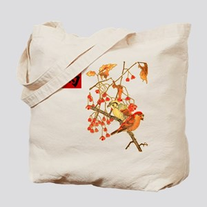 Japanese Woodcut Birds Tote Bag