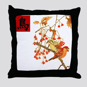 Japanese Woodcut Birds Throw Pillow