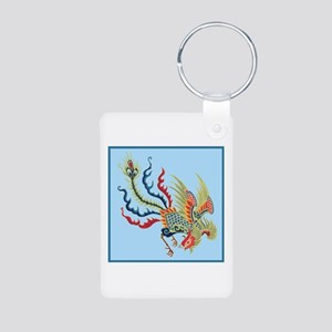 Colorful Chinese Peacock Aluminum Photo Keychain
