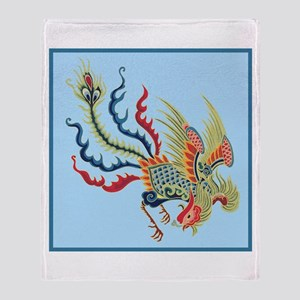 Colorful Chinese Peacock Throw Blanket
