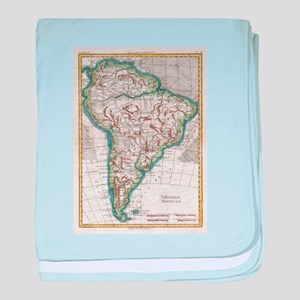 Vintage Map of South America (1780) baby blanket