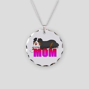 Australian Shepherd Dog Necklace Circle Charm