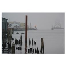 Foggy Waterfront Poster