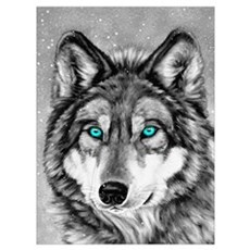 Painted Wolf Grayscale Poster