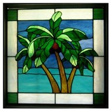 3 Palms in Stained Glass Canvas Art