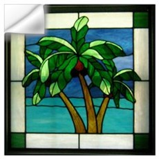 3 Palms in Stained Glass Wall Decal