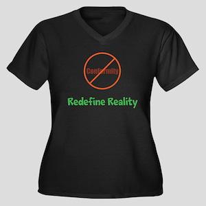 Reality Women's Plus Size V-Neck Dark T-Shirt