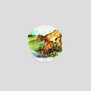Cute Cow Calf Farm Mini Button