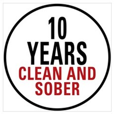 10 Years Clean & Sober Framed Print