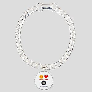 Peace Love Astronomy Charm Bracelet, One Charm