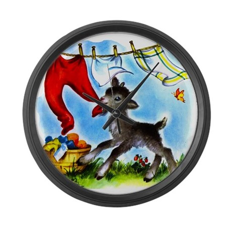 Funny Clothesline Goat Large Wall Clock