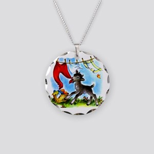 Funny Clothesline Goat Necklace Circle Charm
