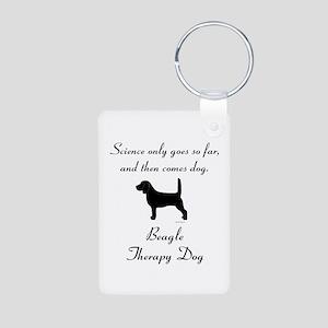 Beagle Therapy Dog Aluminum Photo Keychain
