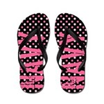 NAVY Pink Polka Dots Flip Flops