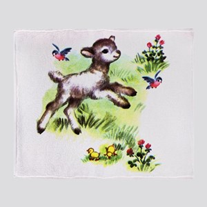 Cute Baby Lamb Sheep Throw Blanket