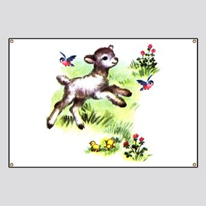 Cute Baby Lamb Sheep Banner