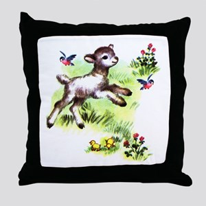 Cute Baby Lamb Sheep Throw Pillow