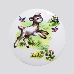 Cute Baby Lamb Sheep Ornament (Round)