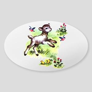 Cute Baby Lamb Sheep Sticker (Oval)