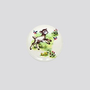 Cute Baby Lamb Sheep Mini Button