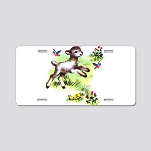 Cute Baby Lamb Sheep Aluminum License Plate