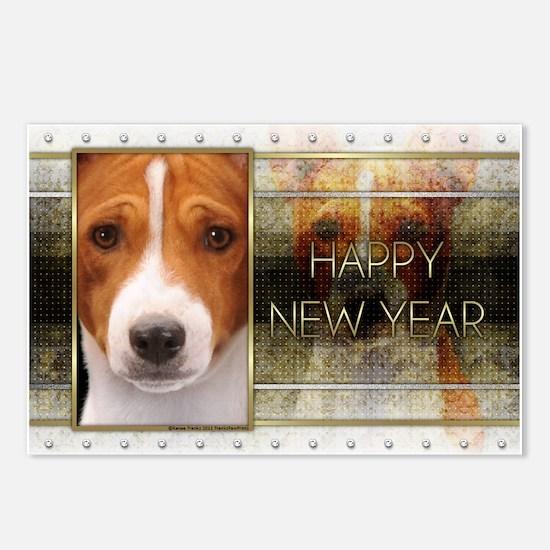 New Year - Golden Elegance - Basenji Postcards (Pa