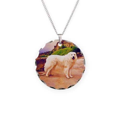 Great Pyrenees Necklace Circle Charm, Carcassonne
