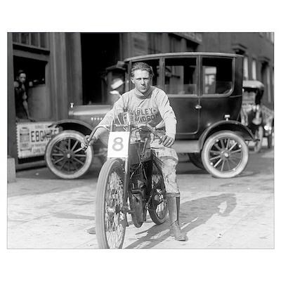Harley-Davidson Motorcycle Racer, 1922 Poster