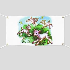 Cute Sheep Baby Lambs Banner