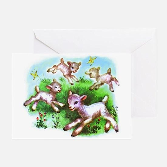 Cute Sheep Baby Lambs Greeting Card