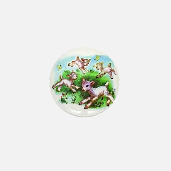 Cute Sheep Baby Lambs Mini Button