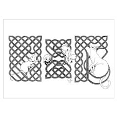 Cat, Rat, and Owls Among Knotwork Poster