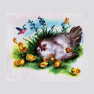 Mother Hen Yellow Chicks Throw Blanket