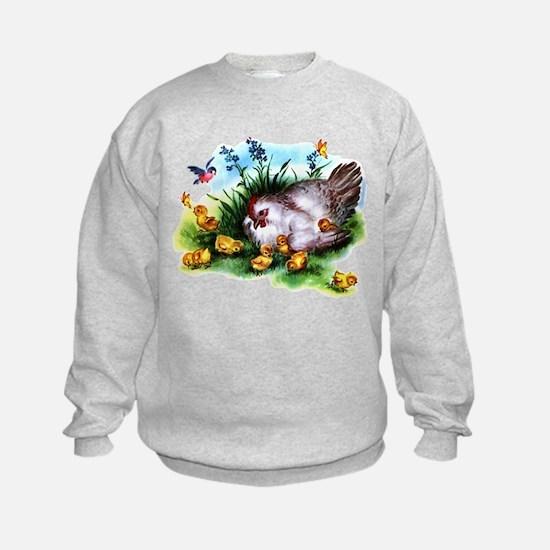 Mother Hen Yellow Chicks Sweatshirt