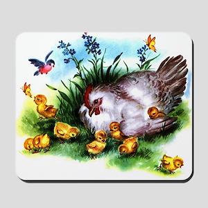 Mother Hen Yellow Chicks Mousepad