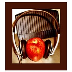 Shiny Red Apple With Headphon Poster