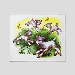 Funny Lambs White Sheep Throw Blanket
