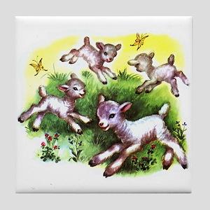 Funny Lambs White Sheep Tile Coaster