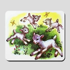Funny Lambs White Sheep Mousepad