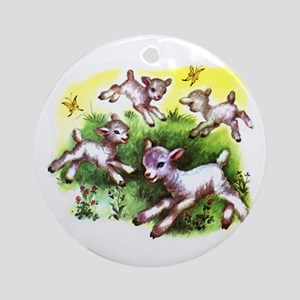 Funny Lambs White Sheep Ornament (Round)
