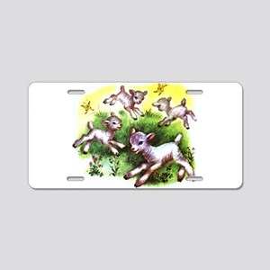 Funny Lambs White Sheep Aluminum License Plate